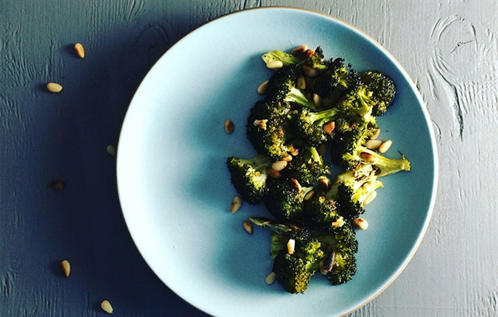 Oven Roasted Broccoli with Pine Nuts
