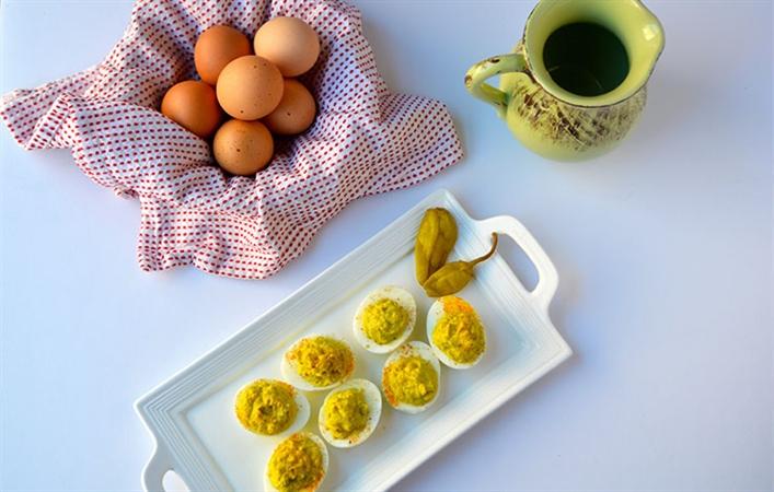 Pepperoncini Deviled Eggs