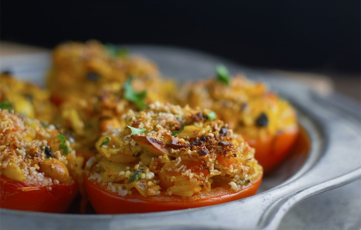 Rice and Currant Stuffed Tomatoes