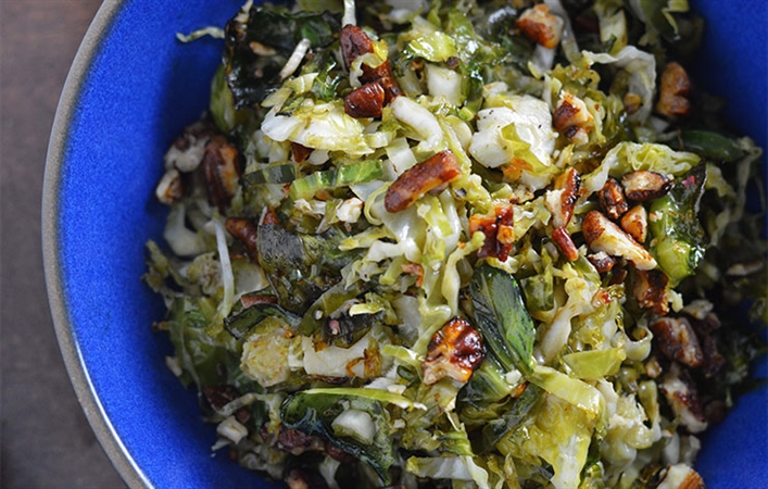 Roasted Brussel Sprouts with Maple Molasses Pecans