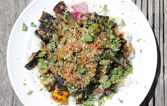 Grilled Vegetables and Rice Salad w/ Fish-Sauce Vinaigrette