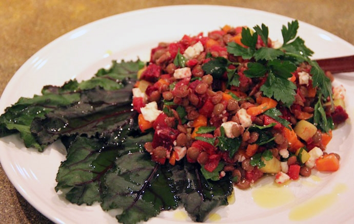 Rainbow Lentils with Beet Greens