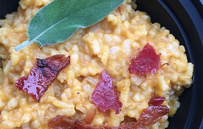 Butternut Squash Risotto with Sage & Maple Bacon (Instant Pot!)
