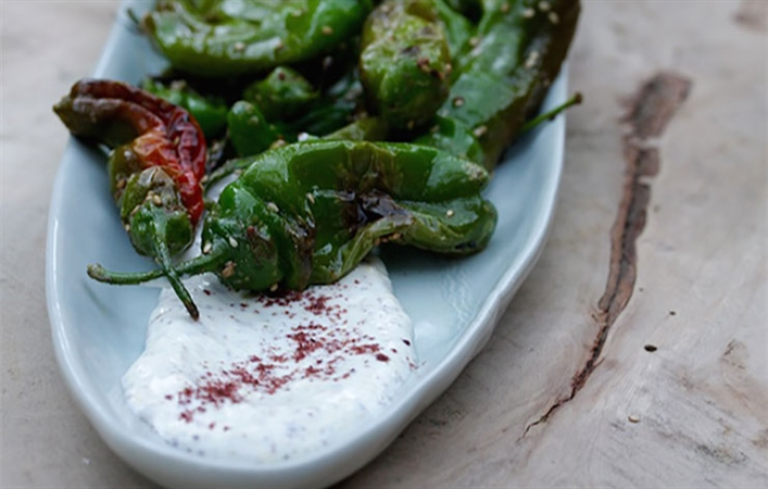 Shishito Peppers with Yogurt Cream & Sumac