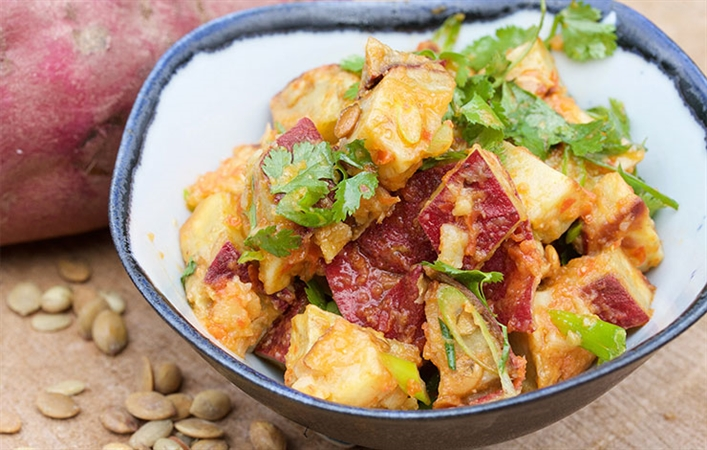 Japanese Sweet Potato Salad with Red Peppers, Pepitas & Cilantro