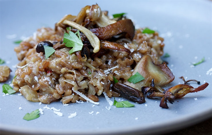 Spelt Risotto with Crispy Mushrooms