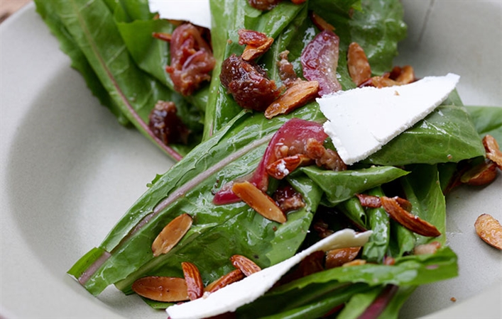 Dandelion Greens with Pancetta, Dates, Toasted Almond & Ricotta Salata