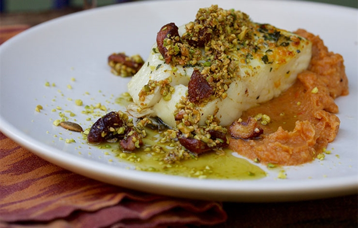 Halibut with Pistachio & Citrus