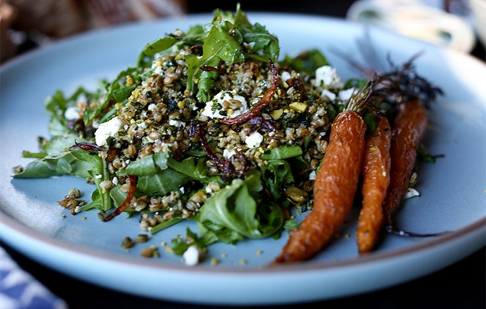 Green Einkorn with Mint, Feta, Pistachio & Arugula
