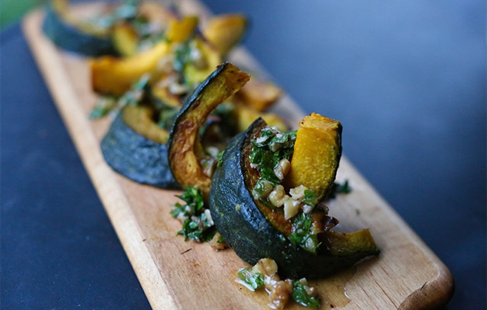 Kabocha Squash with Walnut Parsley Vinaigrette