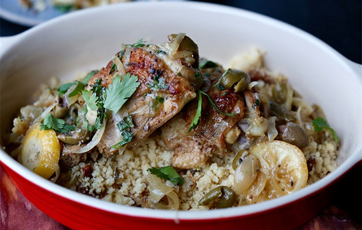Moroccan Chicken Thighs with Olives & Lemon