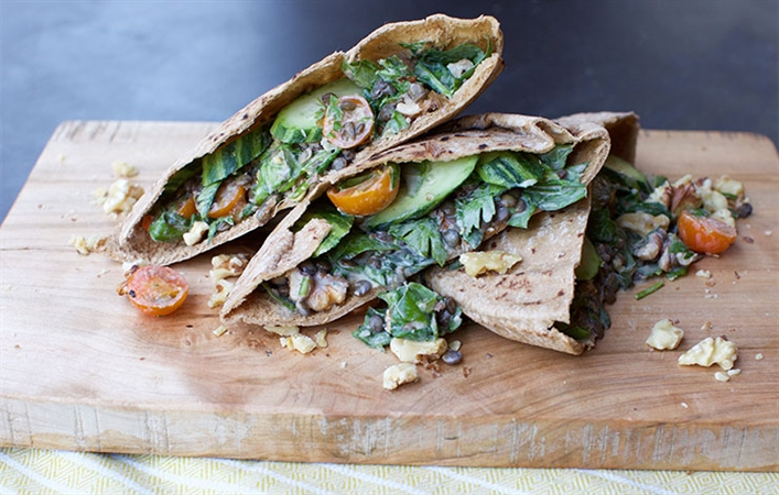 Summer Lentils with Whole Wheat Pita