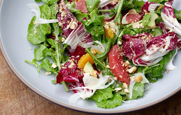 Winter Salad with Citrus, Avocado & Meyer Lemon Dressing