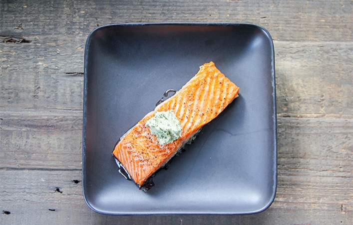 Baked Salmon w/ Herb Butter
