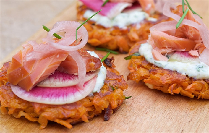 Sweet Potato Rosti with Smoked Trout