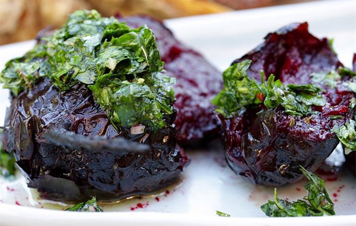 Smashed Beets with Chimichurri